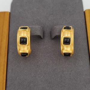 Anne Klein Gold & Black Hoop Earrings